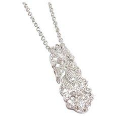 Estate 18K White Gold 48 Round Brilliant Cut Diamond Pendant And Chain 0.40 Cts