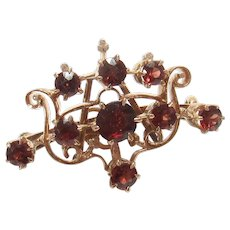 14K Yellow Gold Natural Garnet Removable Brooch Pendant 3.65 Cts 1890's Victorian