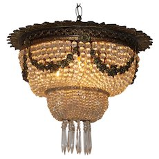 A nineteenth Century bronze and crystal chandelier
