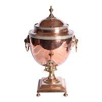 A Regency copper hot water urn