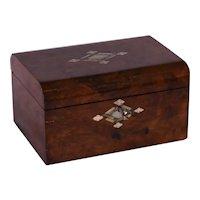 A walnut Victorian work box