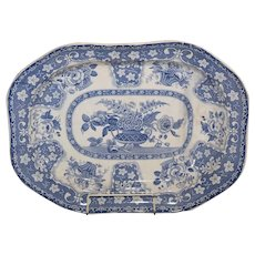 A Regency blue and white carving platter