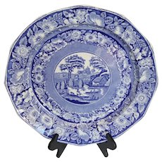 A Victorian large blue and white platter