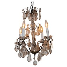 A four branch crystal chandelier