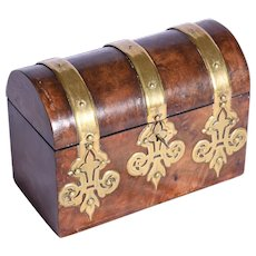 ENGLISH, a Victorian burl Walnut brass bound stationary box with fitted interior.
