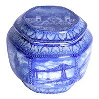 A Ringtons blue and white tea caddy