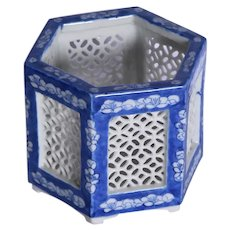A nineteenth Century blue and white hexagonal incense burner