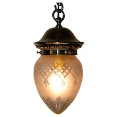 A Victorian brass pendant lamp
