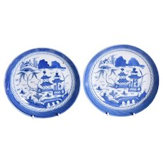 A pair of eighteenth Century blue and white plates