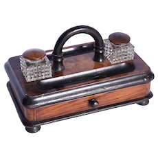 A Victorian walnut ink stand