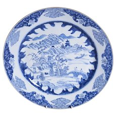 An eighteenth Century blue and white plate