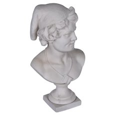 A white marble bust of a fisherman