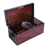 A Regency mahogany two division tea caddy with mixing bowl