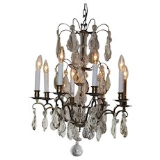 A Louis XV style gilt bronze crystal chandelier