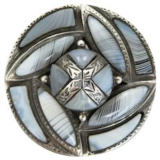 Antique Victorian Montrose Agate Circular Saltire Dome Brooch, Registration Marks
