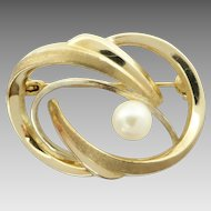 Vintage 9k 9ct Yellow Gold Cultured Akoya Pearl Swirl Brooch