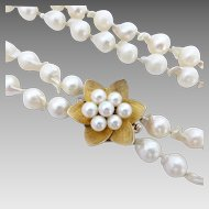 Double Strand Opera Length Baroque Cultured Pearl Strand, 10ct Gold Pearl Clasp