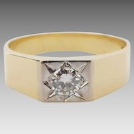 Vintage 14k Two Tone Unisex 0.22 carat Diamond Signet Ring, Size P.5/ 8