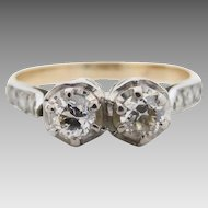Vintage c1930 Dazzling Two Stone 0.43tcw Diamond Engagement Ring in 18ct Gold