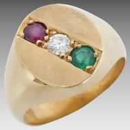 Gleaming 18K Yellow Gold Ruby, 0.20ct Diamond and Syn Emerald Gemstone Signet Ring, Size T/9.75