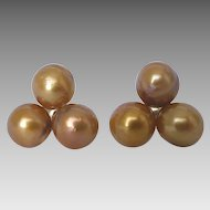 Estate 9k Gold Trilogy Golden Mabe Cultured Pearl Stud Earrings