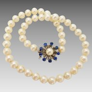 Vintage Saltwater 7.5mm-8mm Akoya Pearl Necklace with 14K Sapphire & Pearl Cluster Clasp