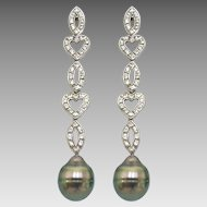 Estate Sterling Silver Peacock Tahitian Cultured Pearl and CZ Drop Earrings