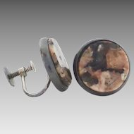 Vintage Sterling Silver Salmon and Brown Agate Hardstone Disc Earrings, Screw-back