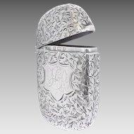 Antique Late Victorian Sterling Silver Ivy Leaf Engraved Vesta Matchsafe by Samuel M Levi