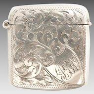Antique Victorian Sterling Silver Pocket Vesta Match Safe, English Hallmarks , c1897