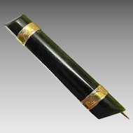 Antique Engraved 9K Gold & Dark Greenstone Bar Brooch, c1900