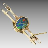 Antique Art & Crafts c1900 Colourful Australian Opal Bar Brooch in 9K Yellow Gold