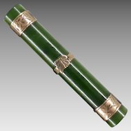 Antique Engraved 9K Gold and Nephrite Jade Bar Brooch, c1900