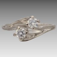 "Vintage 70's Twined ""Toi et Moi"" Upswept Diamond Engagement Ring in 18ct White Gold"