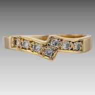 Fitted Diamond Band Wedding Ring in 18K Yellow Gold, Solitaire Enhancer