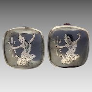 Vintage c1930 Siam Sterling Cushion Shape Black Niello Enamel Mekkala Dancer Goddess Earrings