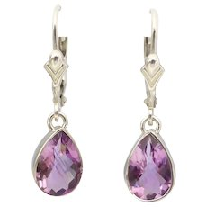 Upcycled Vintage Sterling Silver Natural Amethyst Pear-shape Drop Earrings, Continental Fittings