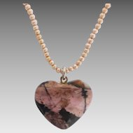 Upcycled Vintage Shell Based Seed Pearl and Heart Rhodonite Necklace