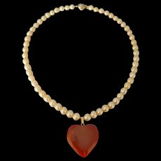Upcycled Vintage Golden Cream Akoya Pearl Strand with Heart Carnelian Pendant