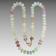 "Carved Fluorite Necklace, Mint Green, Purple, Lavender, Pale Aqua & Clear, 20"" length"