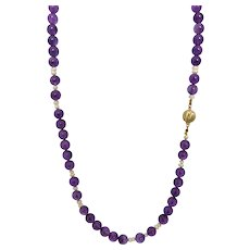 "Mid-Deep Purple Natural Amethyst and Freshwater Pearl 20"" Necklace, 14K Gold Clasp"
