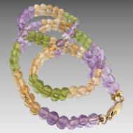 Natural Quartz Amethyst, Citrine and Peridot Gemstone Faceted Bead Necklace, 16.5""
