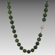 Hand-knotted Green Nephrite Jade 12mm Bead Necklace with Sterling Silver Clasp