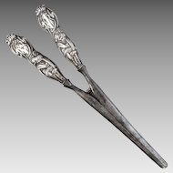Antique c1907 Sterling Silver Art Nouveau Repoussé  Handle Glove Stretchers by Lionel Smith & Co