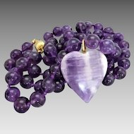 Purple Amethyst Bead Necklace Attached Amethyst Heart Disc Pendant, 28""