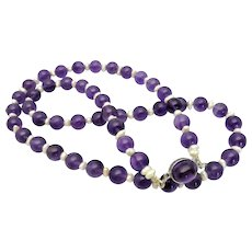 "Luscious Purple Natural Amethyst & Freshwater Pearl Necklace, Cabochon Amethyst Clasp, 22"" inch"