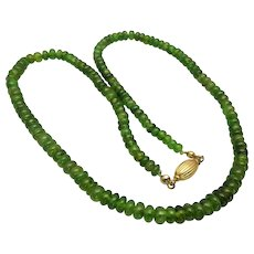 Natural Chrome Diopside Rondelle Bead Graduated Necklace, 18K Gold Clasp