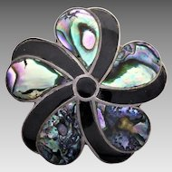 Vintage Mexican Taxco Sterling Silver Paua Shell Flower Pendant or Brooch
