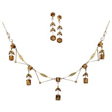 Edwardian Citrine & Seed Pearl Necklace Earrings Set in 9ct Gold, Australian
