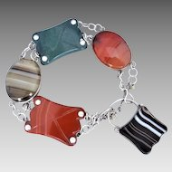 Victorian Scottish Silver Agate & Jasper Bracelet, Agate Padlock with Compartment